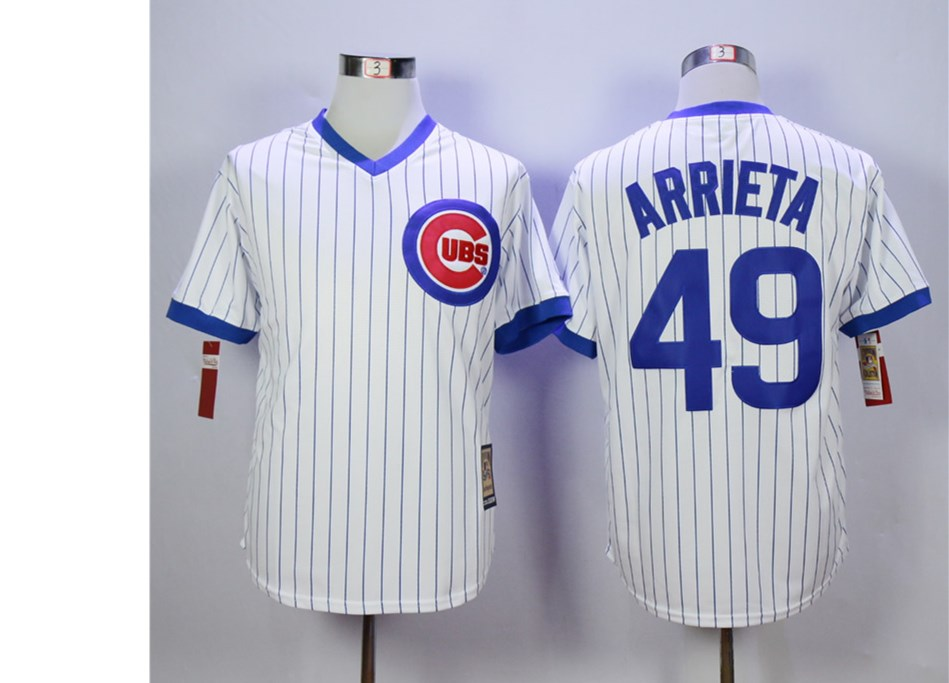 Cubs 49 Jake Arrieta White Cooperstown Collection Jersey