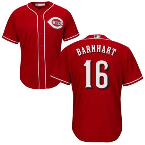 Reds 16 Tucker Barnhart Red Cool Base Jersey