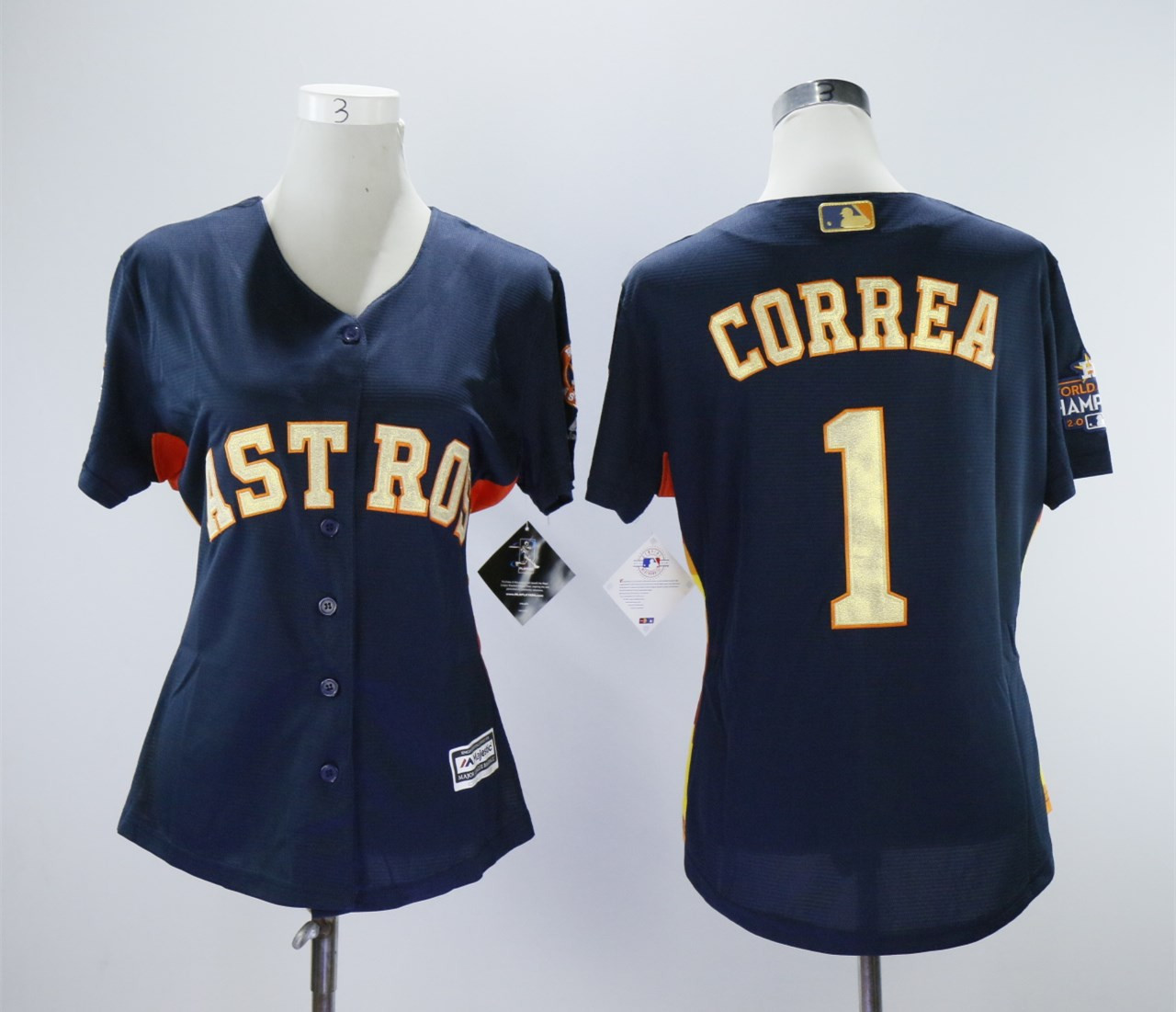 Astros 1 Carlos Correa Navy 2018 Gold Program Women Cool Base Jersey
