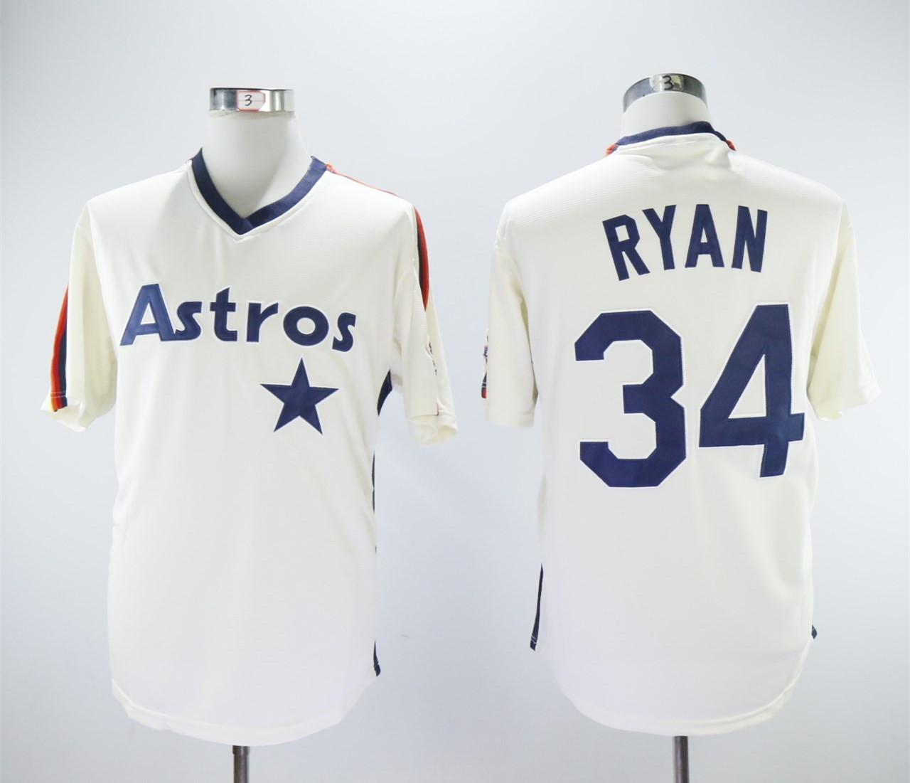Astros 34 Nolan Ryan Cream Cooperstown Collection Jersey