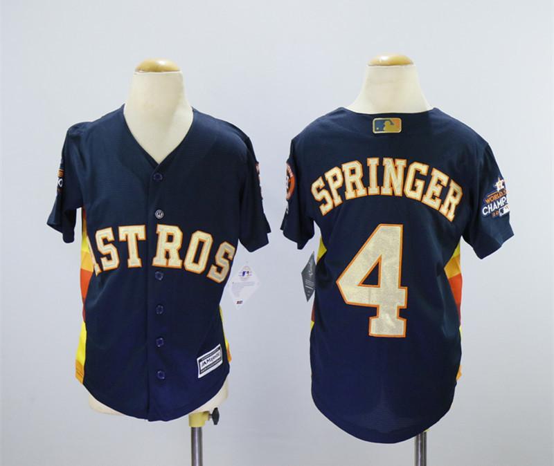 Astros 4 George Springer Navy Youth 2018 Gold Program Cool Base Jersey