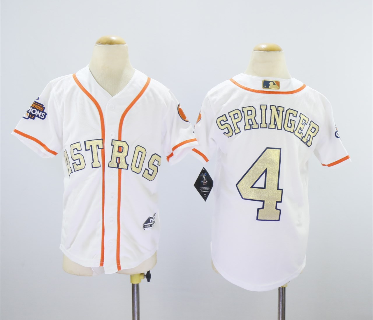 Astros 4 George Springer White Youth 2018 Gold Program Cool Base Jersey