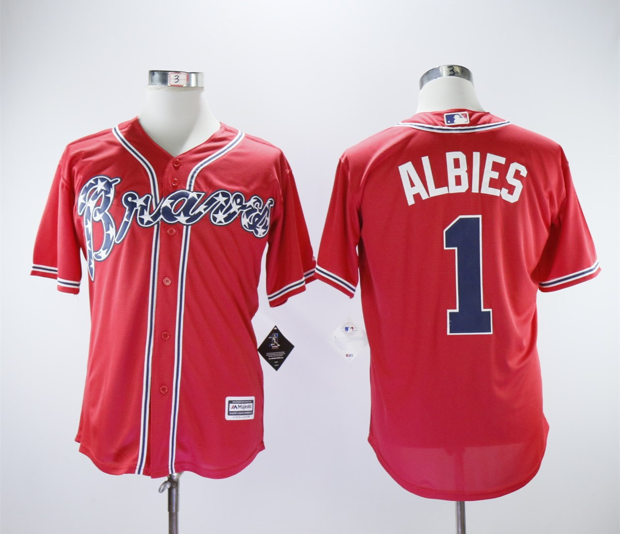 Braves 1 Ozzie Albies Red Cool Base Jersey