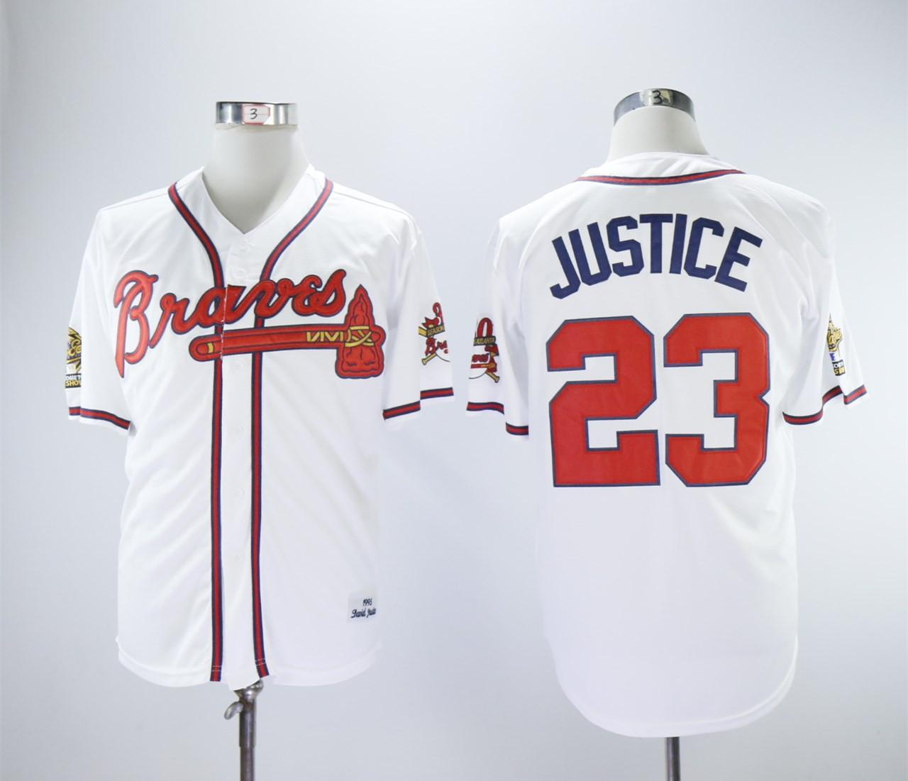Braves 23 David Justice White 1993 Throwback Jersey