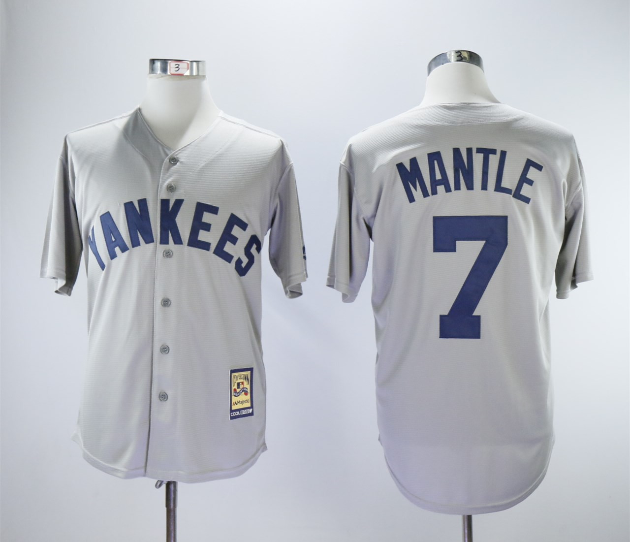 Yankees 7 Mickey Mantle Gray Cooperstown Collection Mitchell & Ness Jersey