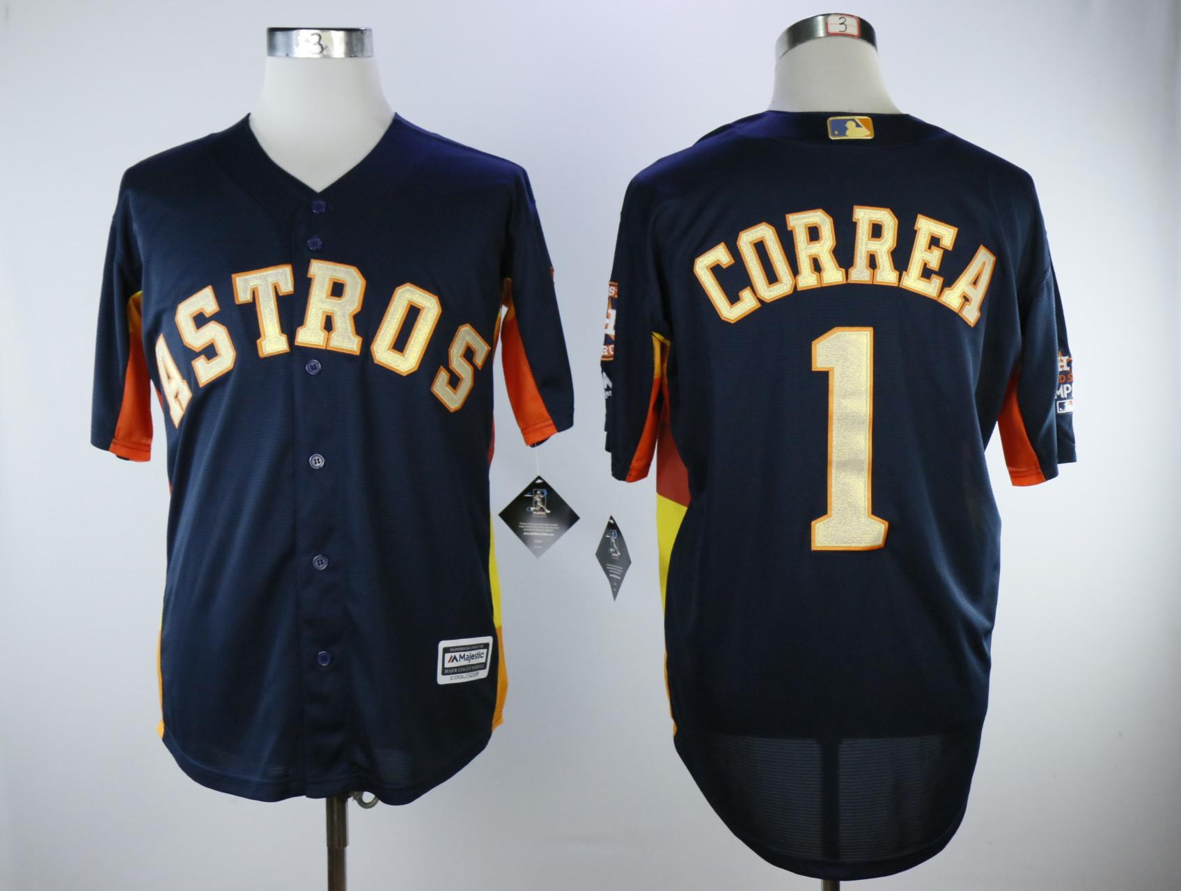 Astros 1 Carlos Correa Navy 2018 Gold Program Cool Base Jersey