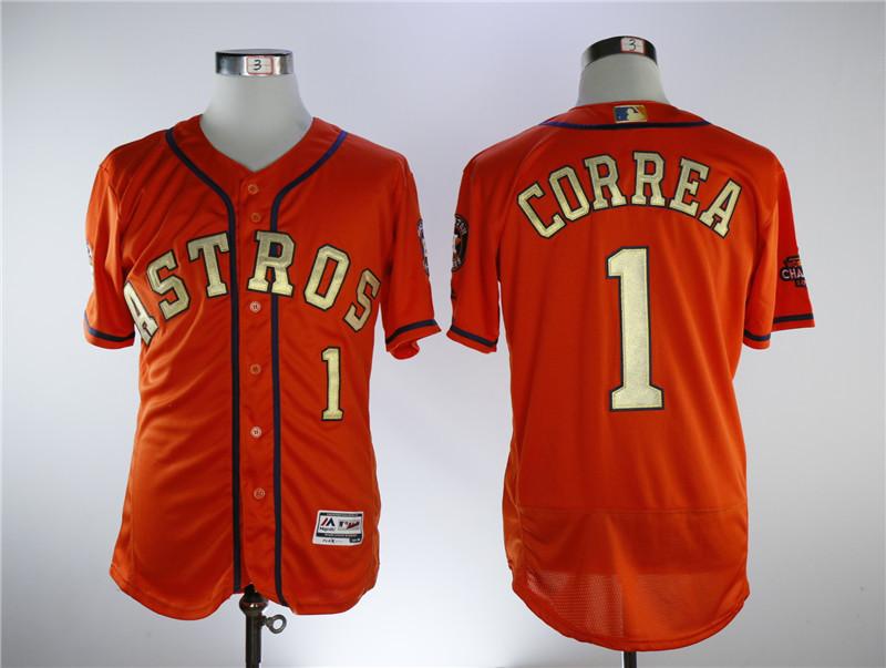Astros 1 Carlos Correa Orange 2018 Gold Program Flexbase Jersey
