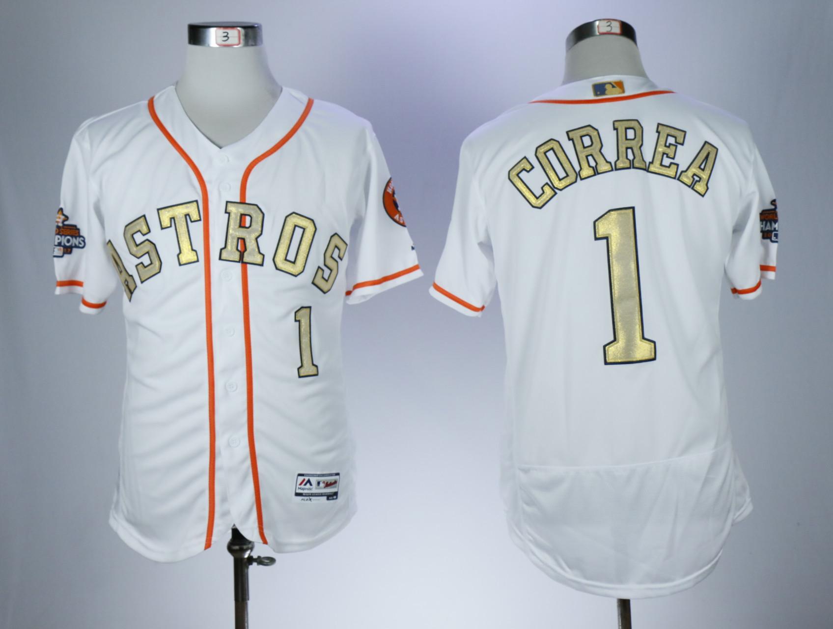 Astros 1 Carlos Correa White 2018 Gold Program Flexbase Jersey