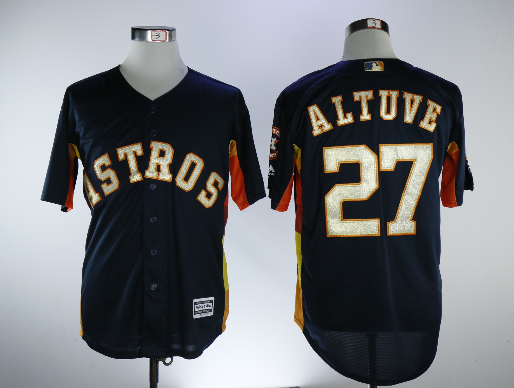 48149f14d Astros 27 Jose Altuve Navy 2018 Gold Program Cool Base Jersey