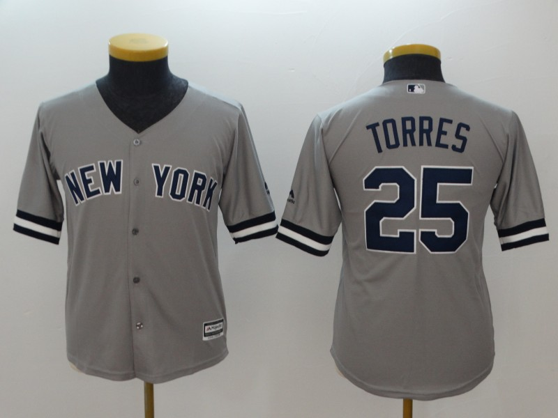 Yankees 25 Gleyber Torres Gray Youth Cool Base Jersey