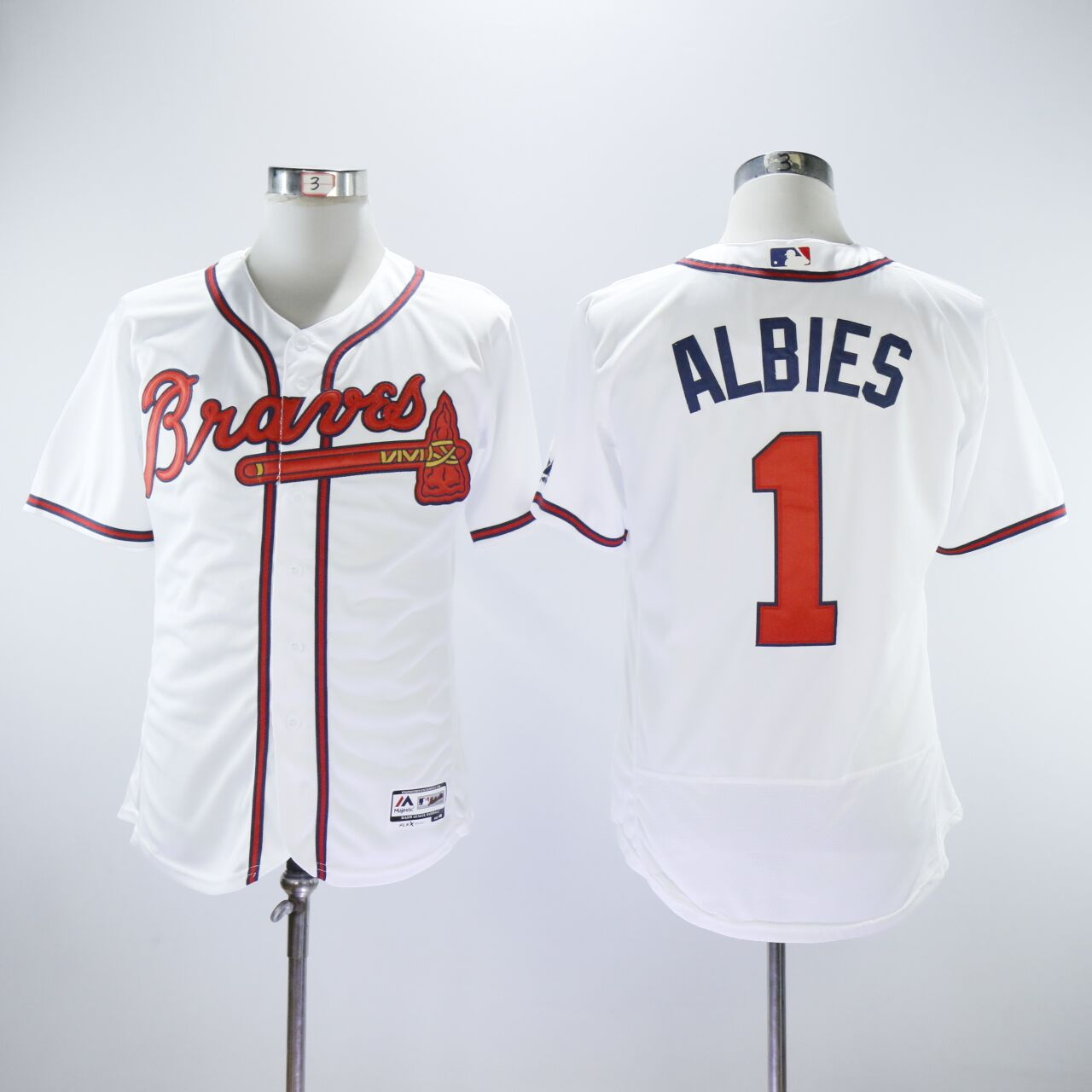 Braves 1 Ozzie Albies White Flexbase Jersey