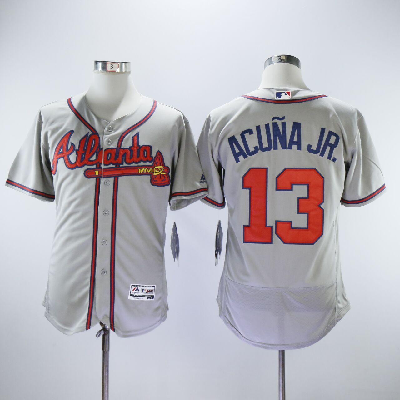 Braves 13 Ronald Acuna Jr. Gray Flexbase Jersey