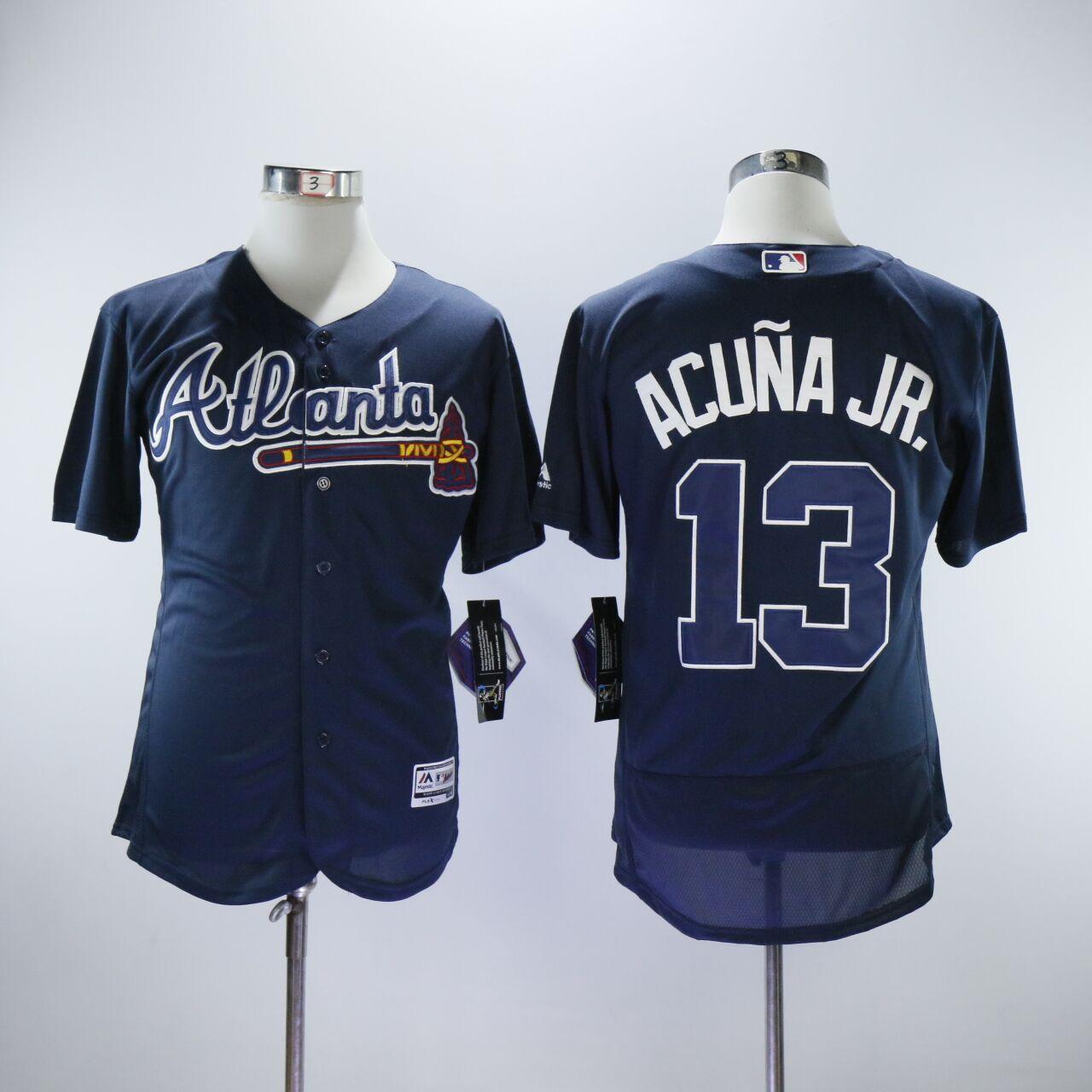 Braves 13 Ronald Acuna Jr. Navy Flexbase Jersey