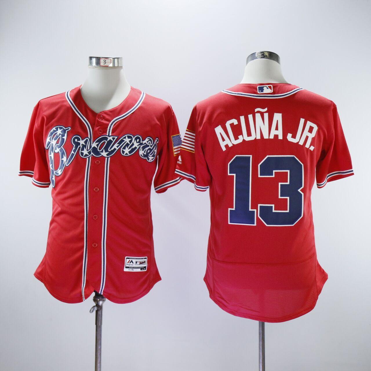Braves 13 Ronald Acuna Jr. Red Flexbase Jersey