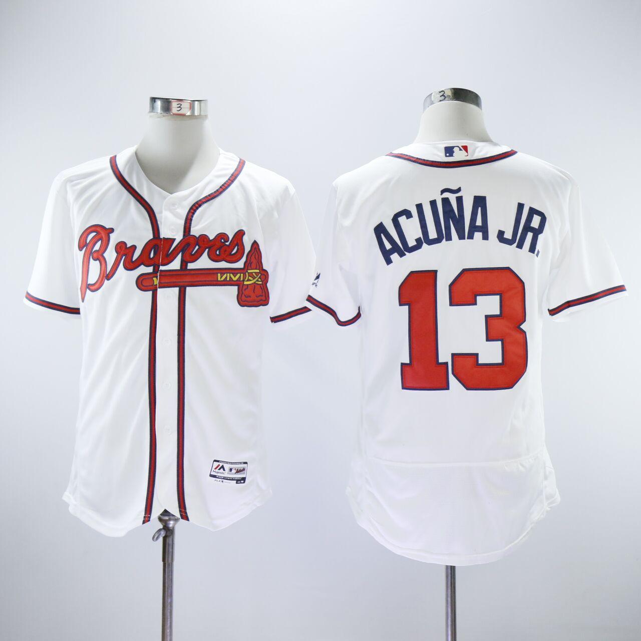 Braves 13 Ronald Acuna Jr. White Flexbase Jersey