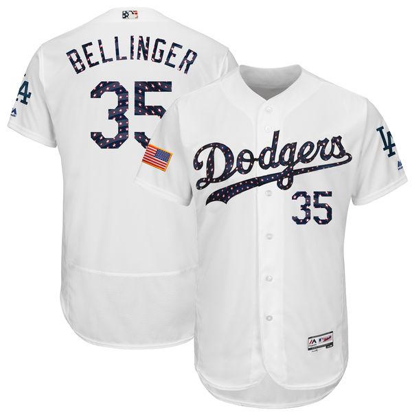 Dodgers 35 Cody Bellinger White 2018 Stars & Stripes Flexbase Jersey