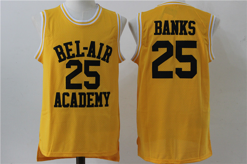 Bel-Air Academy 25 Carlton Banks Yellow Stitched Movie Jersey