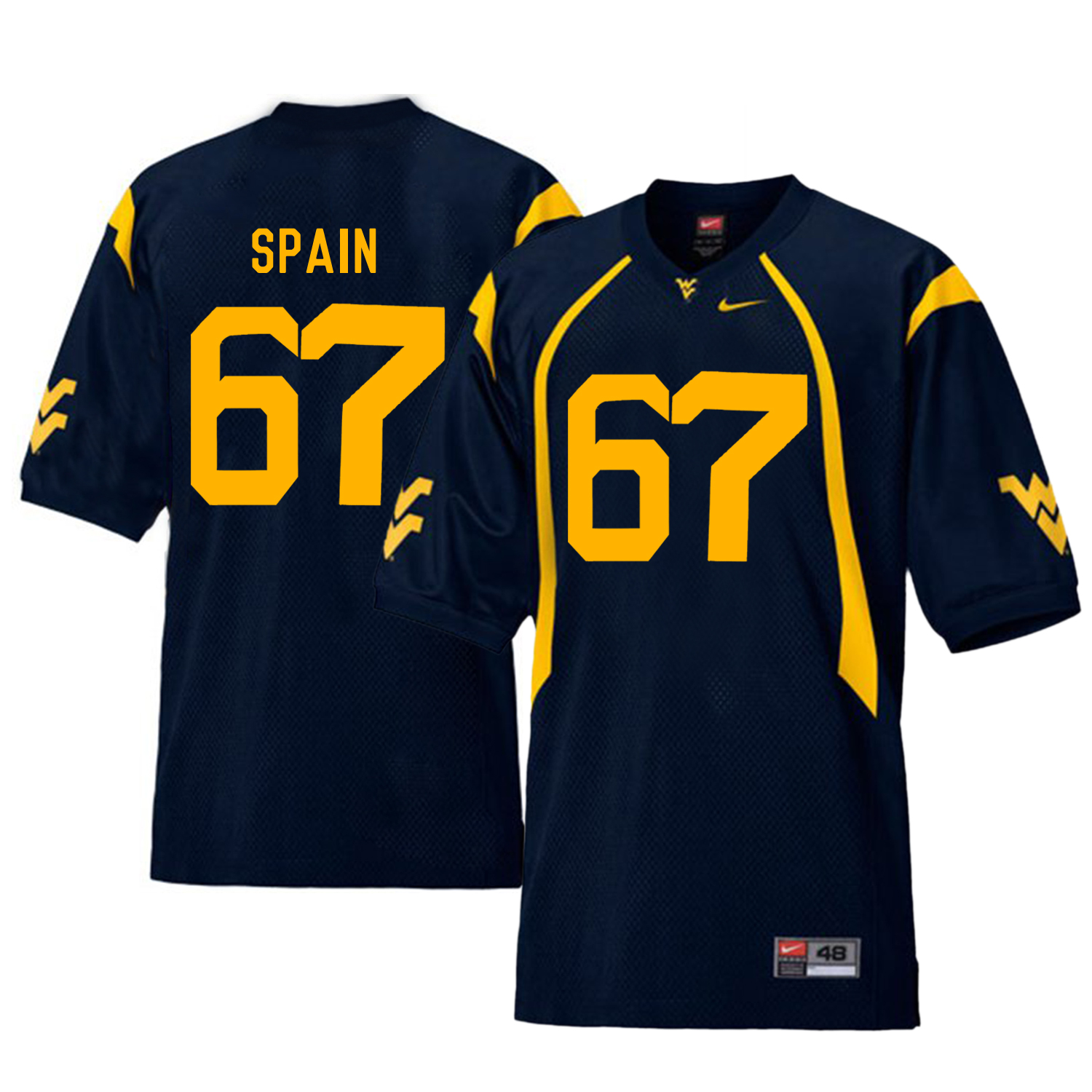 West Virginia Mountaineers 67 Quinton Spain Navy College Football Jersey