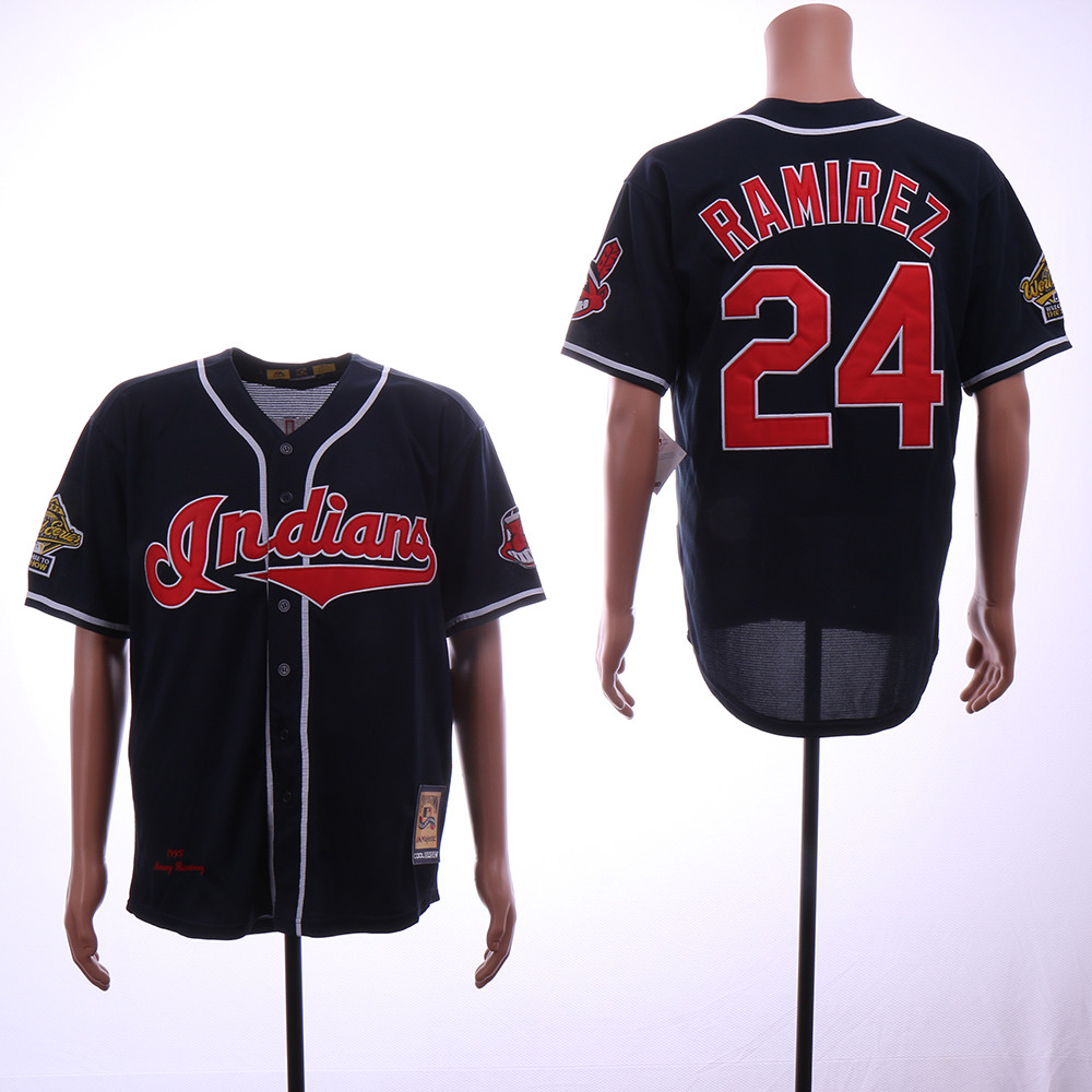 Indians 24 Manny Ramirez Navy 1995 World Series Cooperstown Collection Jersey