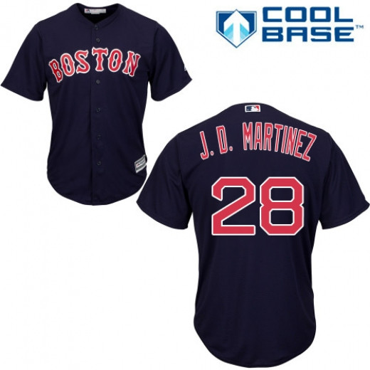 Red Sox 28 J.D. Martinez Navy Youth Cool Base Jersey