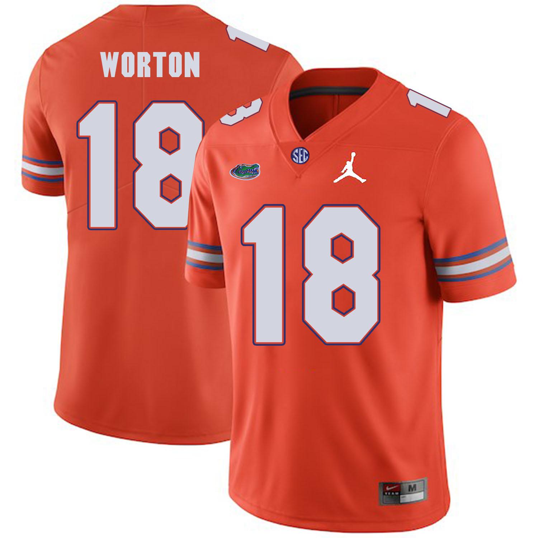 Florida Gators 18 C.J. Worton Orange College Football Jersey