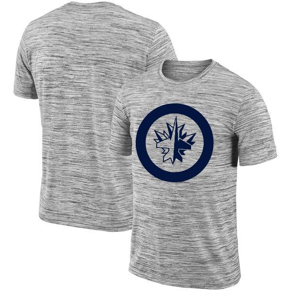 Winnipeg Jets 2018 Heathered Black Sideline Legend Velocity Travel Performance T-Shirt