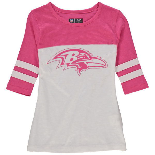 Baltimore Ravens 5th & Ocean by New Era Girls Youth Jersey 34 Sleeve T-Shirt White/Pink