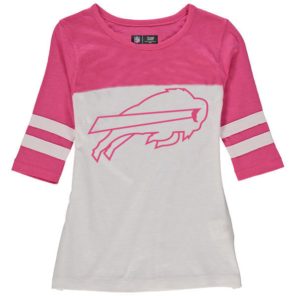 Buffalo Bills 5th & Ocean by New Era Girls Youth Jersey 34 Sleeve T-Shirt White/Pink