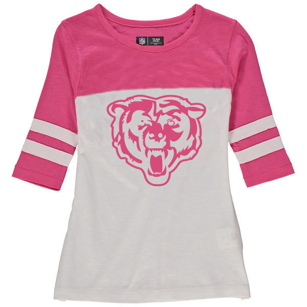 Chicago Bears 5th & Ocean by New Era Girls Youth Jersey 34 Sleeve T-Shirt White/Pink