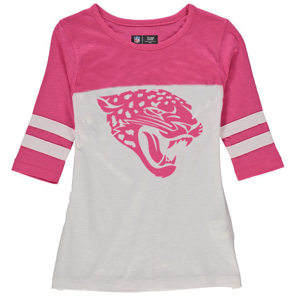 Jacksonville Jaguars 5th & Ocean by New Era Girls Youth Jersey 34 Sleeve T-Shirt White/Pink