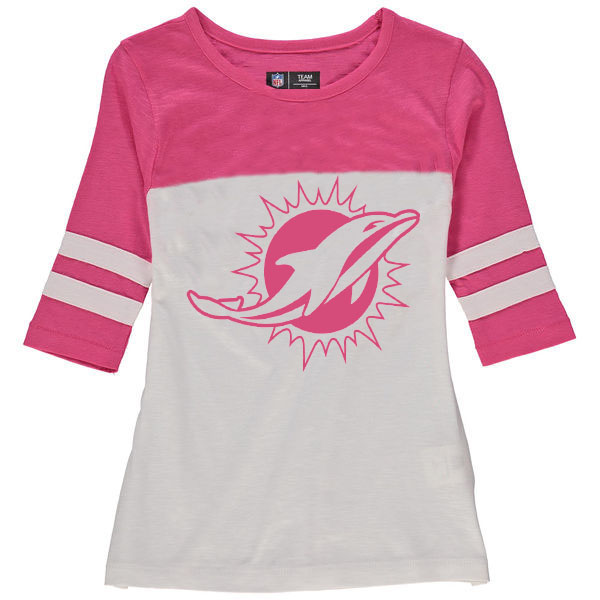 Miami Dolphins 5th & Ocean by New Era Girls Youth Jersey 34 Sleeve T-Shirt White/Pink