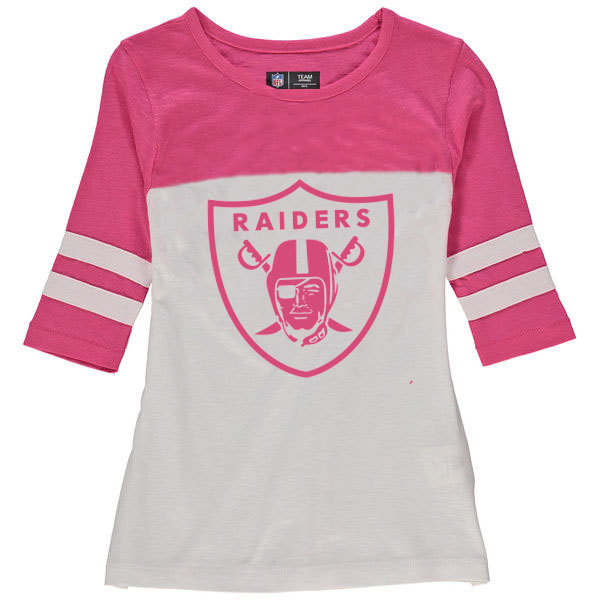 Oakland Raiders 5th & Ocean by New Era Girls Youth Jersey 34 Sleeve T-Shirt White/Pink