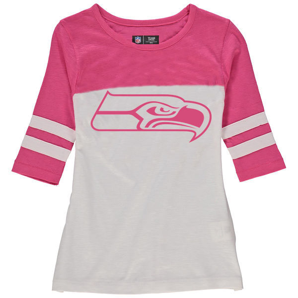 Seattle Seahawks 5th & Ocean by New Era Girls Youth Jersey 34 Sleeve T-Shirt White/Pink