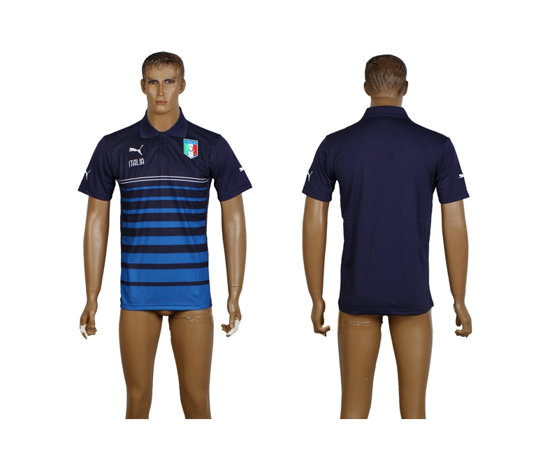 Italy Navy Soccer Polo Shirt