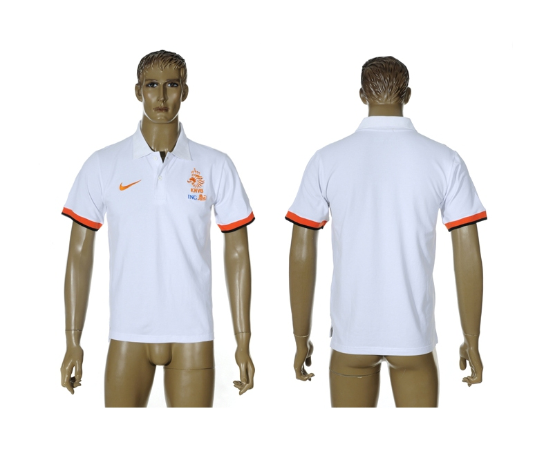 Netherlands White Soccer Polo Shirt