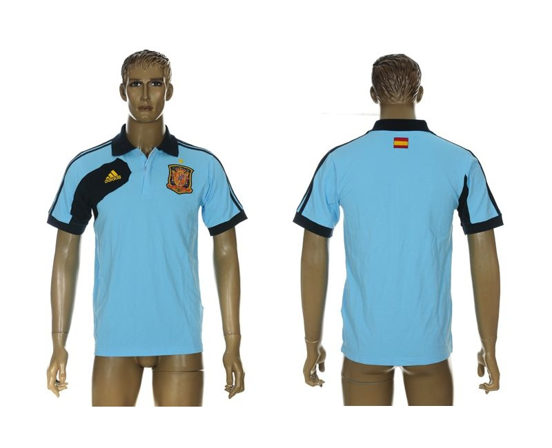 Spain Blue Adidas Soccer Polo Shirt