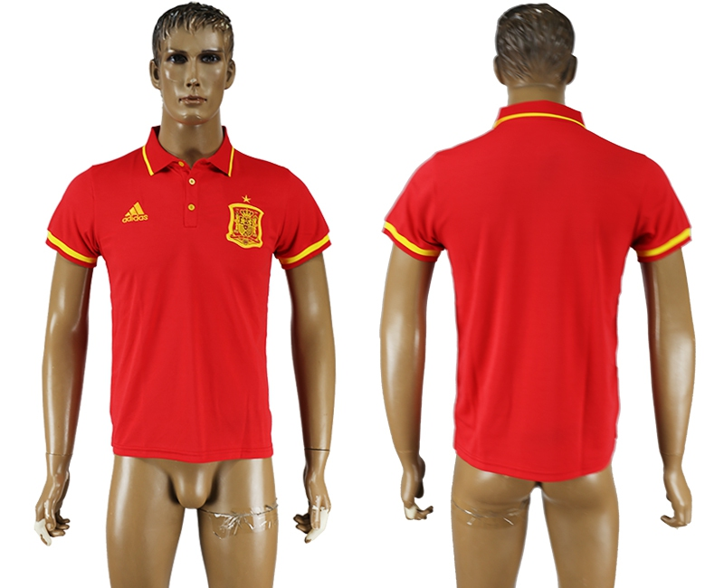 Spain Red 2016 Euro Soccer Polo Shirt