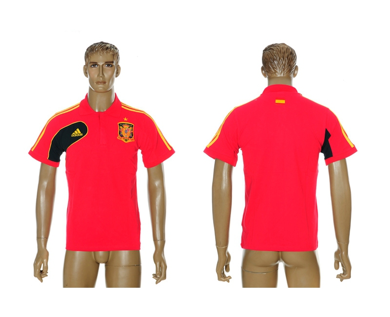 Spain Red Adidas Soccer Polo Shirt