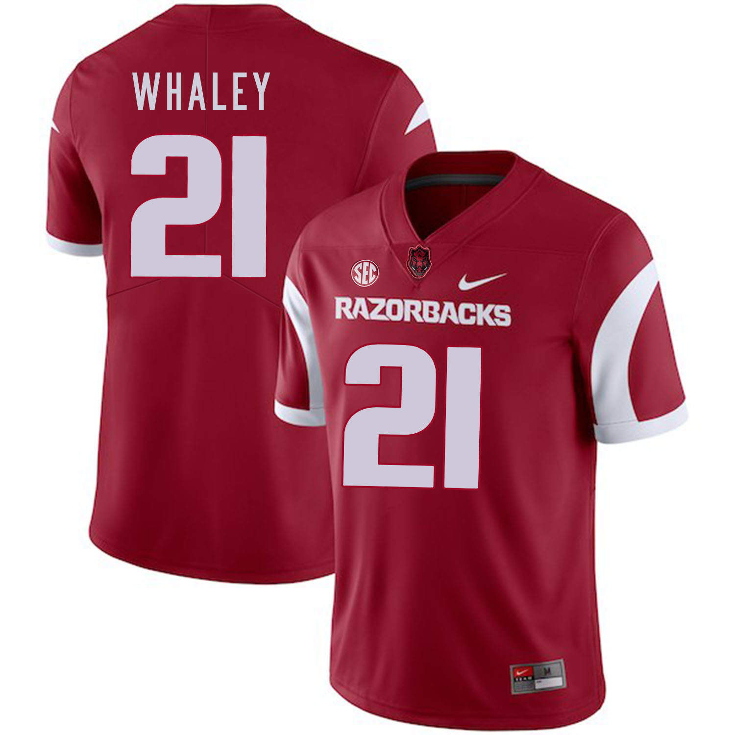 Arkansas Razorbacks 21 Devwah Whaley Red College Football Jersey