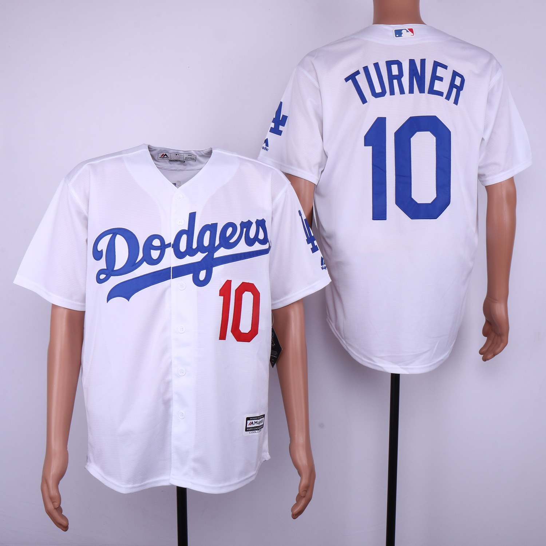 Dodgers 10 Justin Turner White Cool Base Jersey