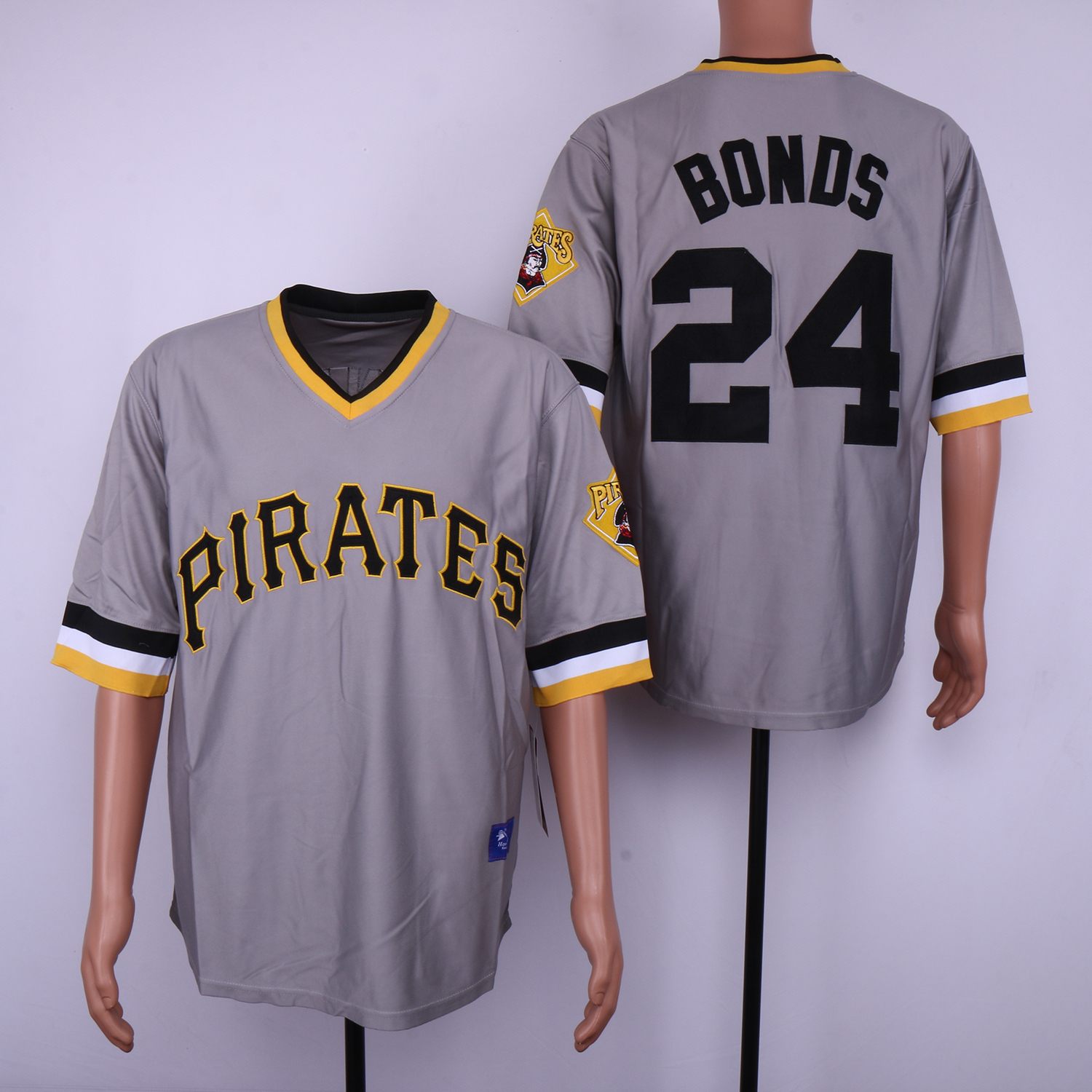 Pirates 24 Barry Bonds Gray Throwback Jersey