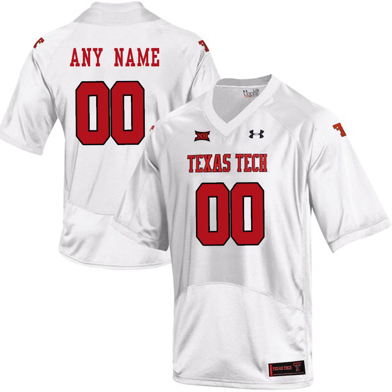 Texas Tech White Men's Customized College Football Jersey