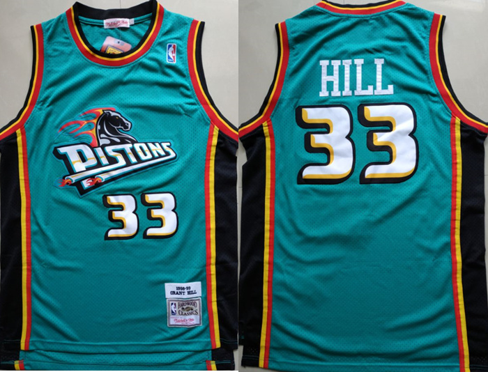 Pistons 33 Grant Hill Teal 1998-99 Hardwood Classics Jersey