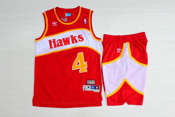 Hawks 4 Spud Webb Red Hardwood Classics Jersey(With Shorts)