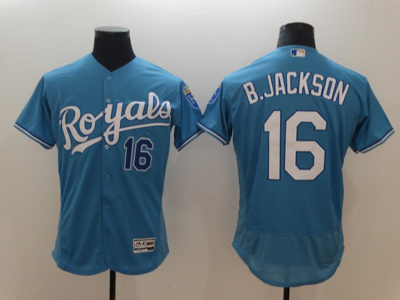Royals 16 Bo Jackson Light Blue Flexbase Jersey