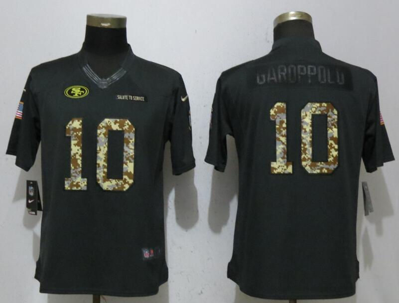 Nike 49ers 10 Jimmy Garoppolo Anthracite Women Salute To Service Limited Jersey
