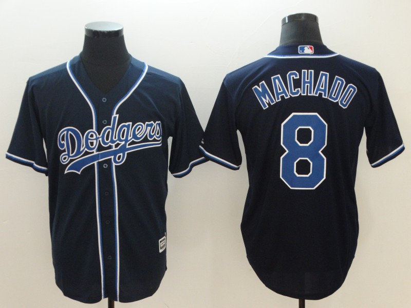 Dodgers 8 Manny Machado Navy Cool Base Jersey