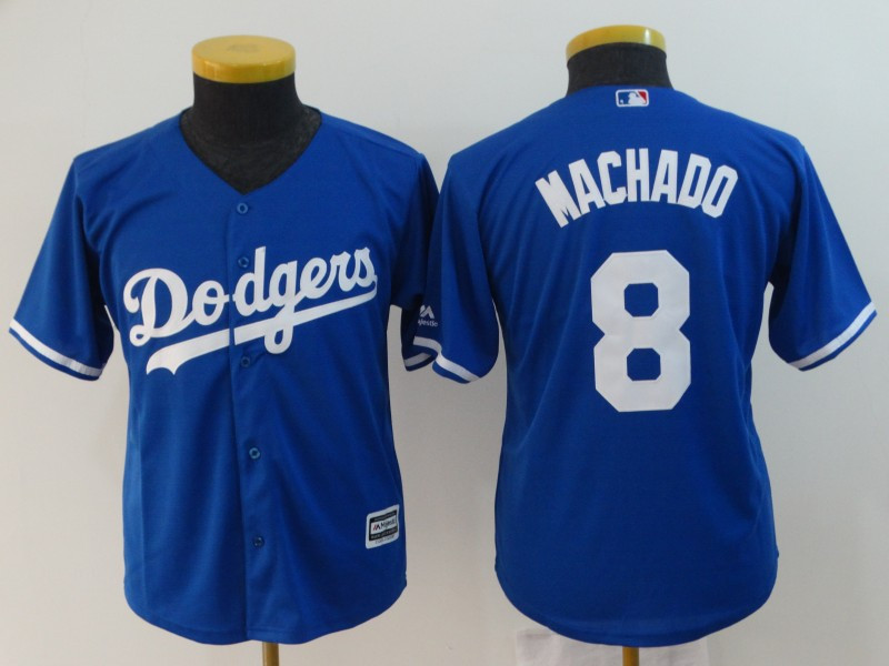 Dodgers 8 Manny Machado Royal Youth Cool Base Jersey