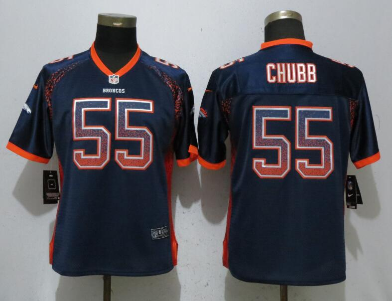 Nike Broncos 55 Bradley Chubb Navy Women Drift Fashion Jersey