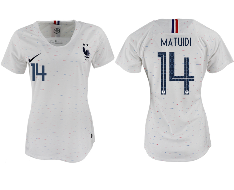 France 14 MATUIDI Away Women 2018 FIFA World Cup Soccer Jersey